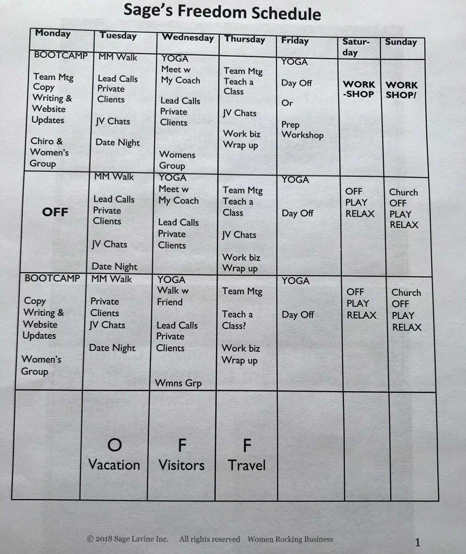 Sage Lavine Freedom Schedule